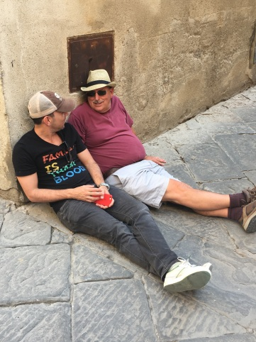 Drunks on the Street in Pienza